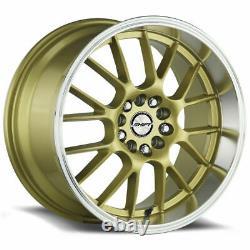 18x8.5 Gold Polished Lip Wheels Shift H28 Crank 4x100/4x114.3 30 (Set of 4) 73