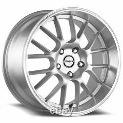 18x8.5 Shift H28 Crank 4x100/4x114.3 30 Silver Polished Lip Wheels Rims Set(4) 7