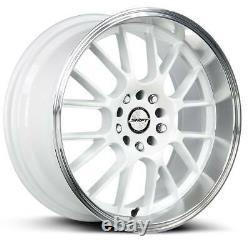 18x8.5 Shift H28 Crank 5x114.3/5x120 30 White Polished Lip Wheels Rims Set(4) 73