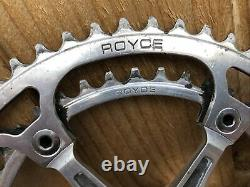 Classic & Rare Royce Bicycle Chainset Crank Set 53 42 170mm Arms Square Taper
