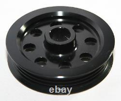 EMUSA Aluminum BLACK Crank Pulley Set for Nissan Skyline R32 R33 R34 GT-R