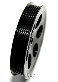 EMUSA Aluminum Black Crank Pulley Set for 93-97 Toyota Supra 2JZGTE JZA80 3.0L