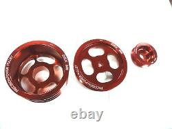 OBX Crank Pulley Set fits 86-92 Toyota Supra 3.0L V6 7M-GE 7M-GTE, Red