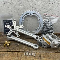 Old School BMX Crank Set SR APEX 170mm Single Fixie Lot Gold Wolf Tooth 42t USA