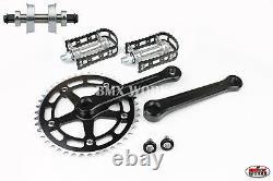 ProBMX BMX 3 Piece Aluminium Cranks Set Black & MKS BM-7 Pedals & Bottom Bracket
