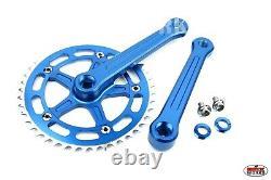 ProBMX BMX 3 Piece Aluminium Cranks Set Blue Old School BMX Style Modern Quality