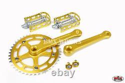 ProBMX BMX 3 Piece Aluminium Cranks Set Gold & MKS BM-7 Pedals Set