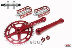 ProBMX BMX 3 Piece Aluminium Cranks Set Red with MKS BM-7 Pedals Bottom Bracket