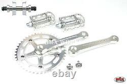 ProBMX BMX 3 Piece Aluminium Cranks Set Silver & MKS BM-7 Pedals Bottom Bracket