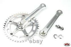 ProBMX BMX 3 Piece Aluminium Cranks Set Silver with Old School BMX Style