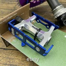 Shimano Alfine FC-S500 crank Set BMX Fixie 170 Pro Neck Purple Blue Pedals S0