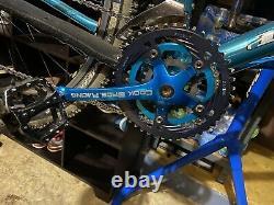 VINTAGE COOK BROS RACING 175L 44/34/24T CRANK SET Blu ANODIZED