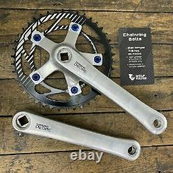 Vintage Crank Set Single Fixie Old BMX Shimano Deore FC-MT60 175mm BLUE