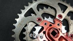 Vintage Kooka Red MTB crankset with REAL chainrings 175mm triple crank set. RARE
