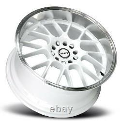 18x8.5 Shift H28 Manivelle 5x114.3/5x120 30 White Polished Lip Wheels Rims Set(4) 73