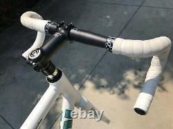 59 CM Bianchi Super Pista White Track Frame Set + Handlebars, Crank, Etc