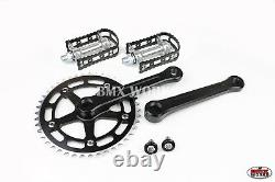 Probmx Bmx 3 Piece Aluminium Cranks Set Black & Mks Bm-7 Pedals Set