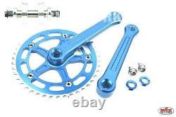 Probmx Bmx 3 Piece Aluminium Cranks Set Blue With Yst Sealed Bottom Bracket