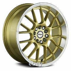Shift Crank Wheels 17x7.5 (30, 5x114.3, 73.1) Gold Rims Ensemble De 4
