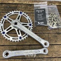 Sugino Super Mighty Crank Set Crown Competition 170mm Blue Old School Bmx