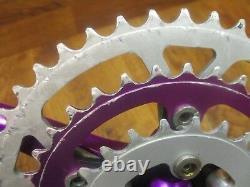 Vintage Cook Bros Racing 175l 94/58 Bcd 44/34/24t Crank Set Purple Anodized