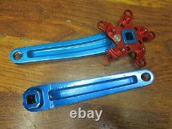 Vintage Kooka 175l 94/58 Bcd Square Taper Crank Arm Set Bleu & Rouge