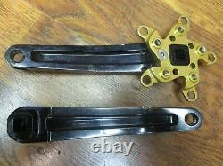 Vintage Kooka 175l 94/58 Bcd Square Taper Crank Arm Set Noir & Or