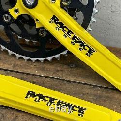 Vintage Race Face Crane Set Forged + Anneaux Yellow Mountain Bike 90s Raceface
