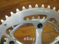 Vintage Stronglight Speedlight 175l 130bcd 53/41t Carré Taper Crank Set Argent